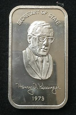 1 oz Silver 1973 Henry Kissinger Secretary of State Bar