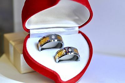 Rare Tungsten 18K Gold Diamond Engagement Wedding Rings  x2  Made in USA