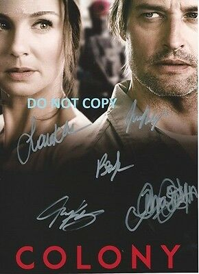 Colony - Hand Signed By 5 Main Cast With Coa Original Rare Autographed Photo