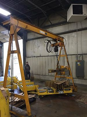 2 ton Sackett gantry crane system HARRINGTON Electric Chain Hoist, 4000 lb.