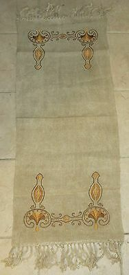 Vintage Arts & Crafts Era Embroidered Linen Table Runner w/Fringe
