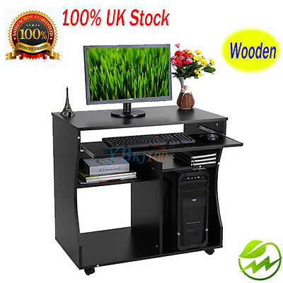 Black Computer Desk Shelving Study Workstation for Laptop Table Storage Drawer