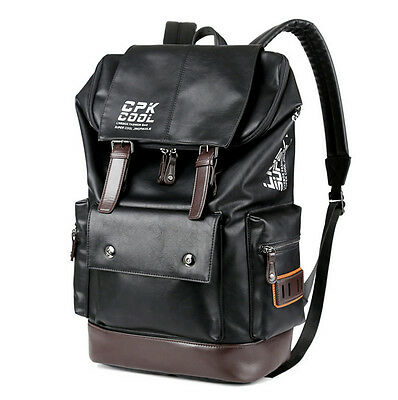 Men S Fashion Leather Travel School Backpack Laptop Outdoor Bag
