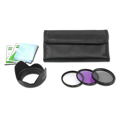 58MM UV CPL FLD Filter Kit  + Lens Hood+ Clean cloth /wrap for Nikon Sony Canon