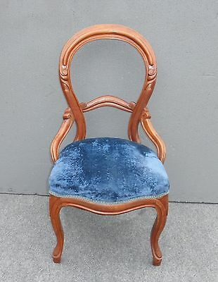 Unique Vintage French Provincial Style Blue Velvet ACCENT CHAIR Round Open Back