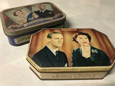 OLD VINTAGE BRITISH MONARCH 50s ROYAL QUEEN ELIZABETH PALM TOFFEE TINS DUKE OF E