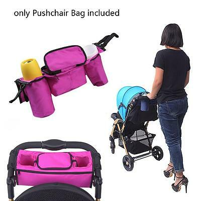 New Baby Stroller Organizer Bottle Cup Bag Stroller Accessories Pram Rosy Red FA