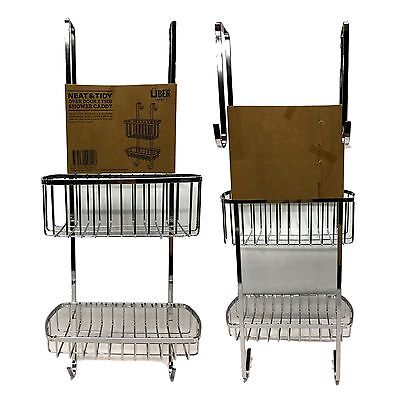 New Neat& Tidy Over Door 2 Tier Shower Caddy Rack Chrome Bath Shelf Storage