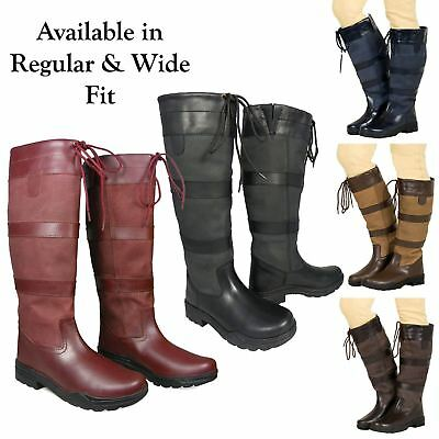 Ladies Mens Waterproof Winter Horse Farm Wellies Leather Country Boots Size 3-11