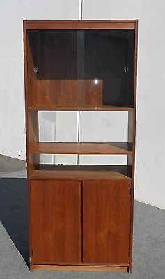 Vintage Danish Modern Single Wide Bookcase w Glass Display and Cabinet