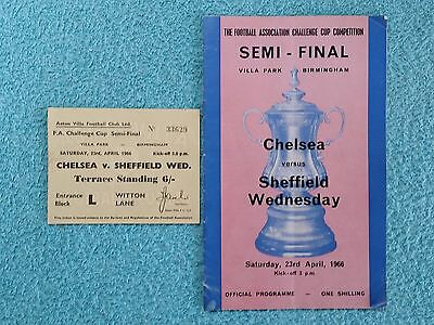 1966 - FA CUP SEMI FINAL PROGRAMME + MATCH TICKET - CHELSEA v SHEFFIELD WEDS