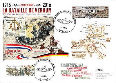 """Maxi-FDC FRANCE """"Centenary Battle of Verdun / Recovery Fort of Vaux / Dove"""" 2016"""