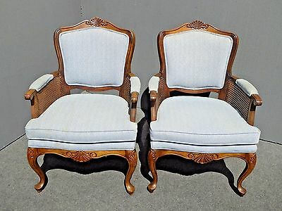 Pair Vintage French Country Style Light Blue Cane Arm Accent CHAIRS