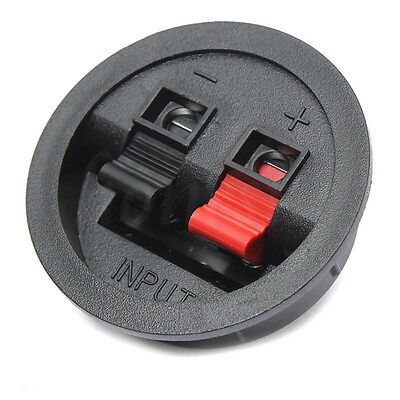2 Way Recessed Sub Speaker Box Terminal Binding Post Cup Round Spring Clip Plate