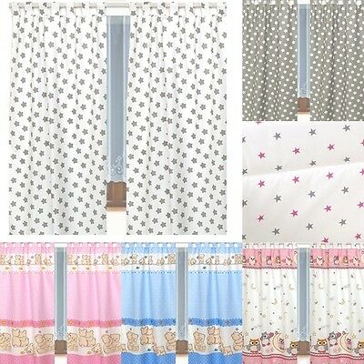 Tab Top Curtains & Tiebacks Baby Nursery Bedroom Grey Stars, Pink, Fuchsia Teddy