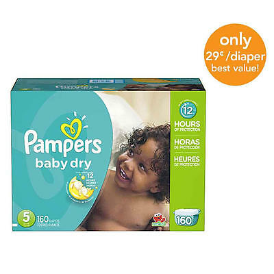 Pampers Baby Dry Size 5 Diapers Economy Plus Pack - 160 Count - $0.29/Ea.