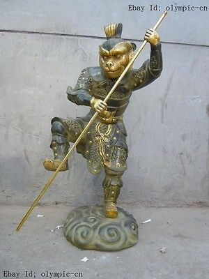 "27"" China bronze ""Alakazan the Great"" Sun Wu Kong monkey-king Buddhism statue"