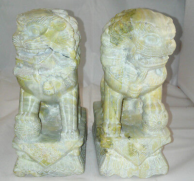 "7"" Antique Pair Of Carved Stone Fu Foo Dogs"