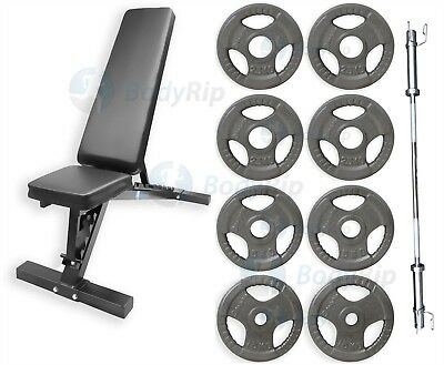 """BodyRip Complete Exercise Bench Weight Plate Barbell Olympic 2"""" 50kg Fitness Set"""