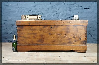 Large Antique Oak & Pine Chest / Trunk / Blanket Box Inner Tray - Useful Storage