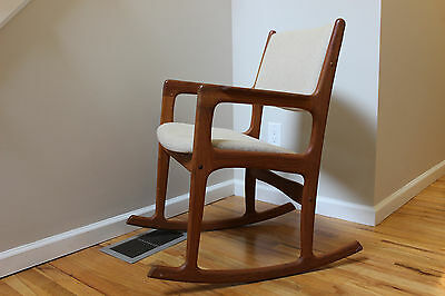 Vintage Mid Century Danish Modern Teak Rocker Rocking Chair By Benny Linden