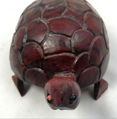 Collectible Hand Carved Wooden Cherry Tone Turtle Sculpture