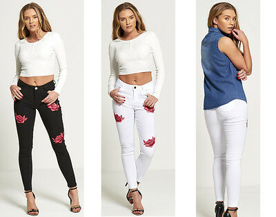 New With Tag Ladies Girls Women's Floral Embroidered Skinny Jeans Trouser