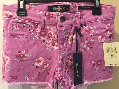 Girls Lucky Brand Pink floral Riley Shorts Size 10