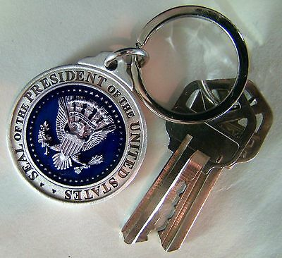 Very Nice Silver Pewter & Cobalt Presidential Seal Key Ring/Fob - White House