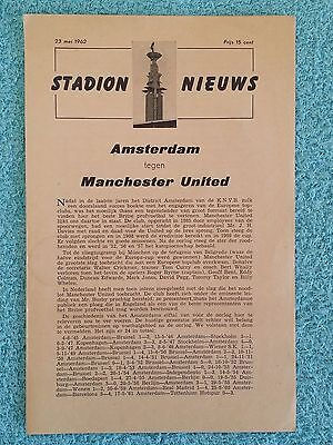 1962 - AMSTERDAM v MANCHESTER UNITED PROGRAMME - FRIENDLY