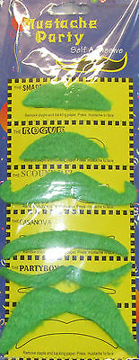 Pack of 6 Green Assorted 70's Irish Stick on Fake Self Adhesive Party Moustache