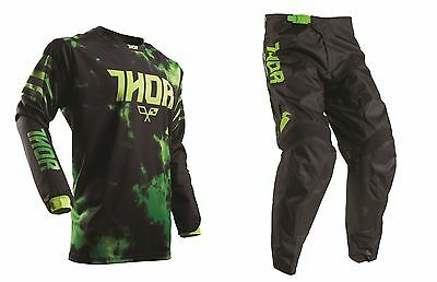 Thor Youth 2017 Kids Pulse Kit Combo Flo Green/Black MX Motocross