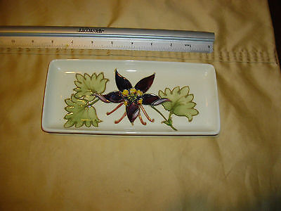VINTAGE COLUMBINE MOORCROFT PLATE PIN DISH rectangle white background