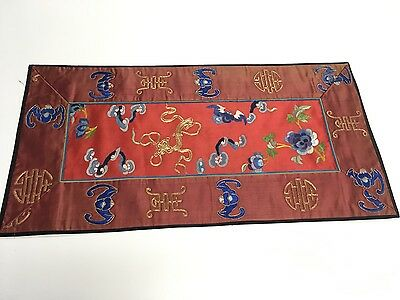 """Oriental Antique Silk Tapestry 23.75"""" x 12"""" Traditional Style Red Blue Gold GUC"""