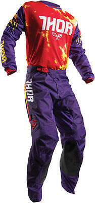 Thor Youth 2017 Kids Pulse Kit Combo TYDY PANT PURPLE/ FIRE MX Motocross