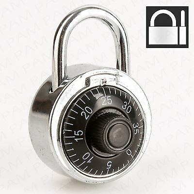 CHROME DIAL COMBINATION PADLOCK Gym Locker Door Travel Luggage/Suitcase Lock