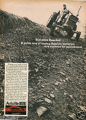 1968 Print Ad of Autolite Battery Ford Farm Tractor
