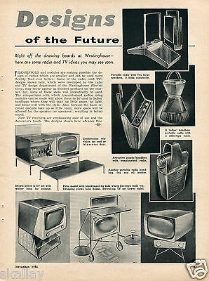 1956 Print Article of Westinghouse Radio & TV Designs of the Future