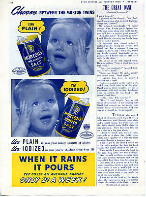 1942 Morton's Salt Morton Twins Baby Print Ad When it rains it pours