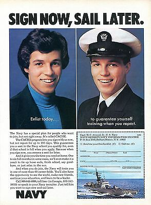 1976 U.S. Navy Sign Now, Sail Later Print Recruiting Ad.