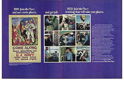 1973 U.S. Navy 2 Page Recruiting Print Ad Featuring 1919 Come Along Poster