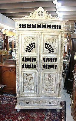 Beautiful Antique White Carved French Oak Brittany Painted Armoire.