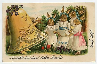 Cloche et Lapins humanisés . PAQUES. EASTER. Bell and RABBITS. FROHLICHE OSTERN.