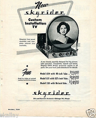 1949 Print Ad of Skyrider Custom Installation TV Chassis