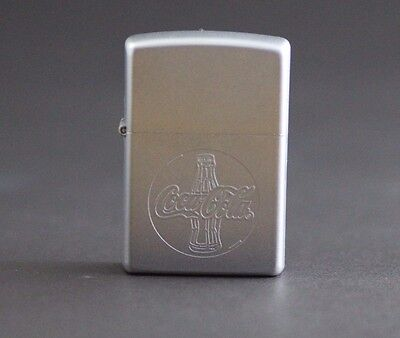 Zippo lighter Coca Cola Brushed Chrome Finished Zippo Unfired NEW 2001!