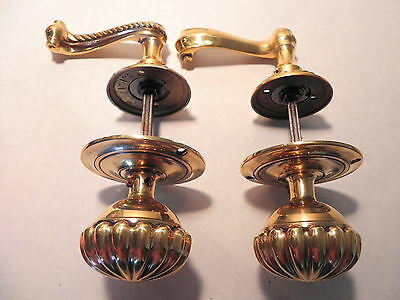 Vintage Set Of Large Fancy Solid Brass Door Knobs, Made In Italy