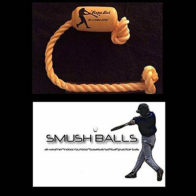 The Rope Bat Hitting System with a Dozen Smushballs- Finally Get the Perfect 33""