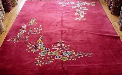 """8'9"""" X 11'8""""   Antique Chinese Art Deco Hand Knotted Wool Oriental Rug"""