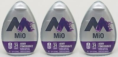 3 Mio Liquid Water Enhancer BERRY POMEGRANATE Natural Flavor 72 Servings Total