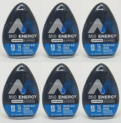 6 Mio Energy Liquid Water Enhancer WICKED BLUE CITRUS 108 Servings Total